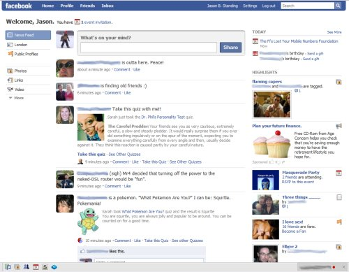 I have to state that I'm not in favour of the new facebook layout,