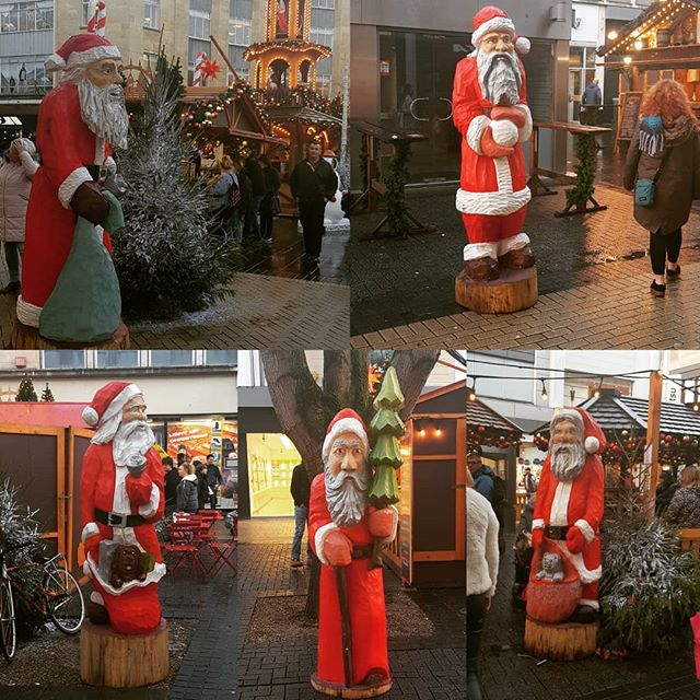 "I call this collection ""The Slightly Eggy Wooden Santas of Broadmead"". Look at those facial expressions. Not a jolly one among them! #ersatzbavarian #couldberesin"