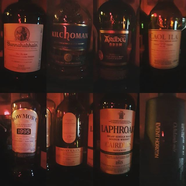 It's darker than a Fritz Lang film in here, but luckily smell and taste are the senses we need for this exercise… #feisile2019 #bunnahabhain #kilchoman #ardbeg #caolila #bowmore #lagavulin #laphroaig #octomore #wegotemall #giggedy #umbrellas #dips #aintnofoolin #lovescotch