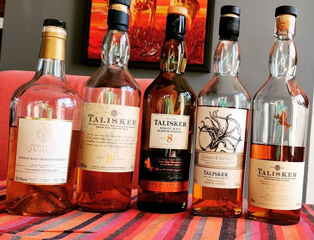 Ever look around the room and realise you've got 5 Taliskers on the go? #guessivegotanotherfavourite #lovescotch #talisker