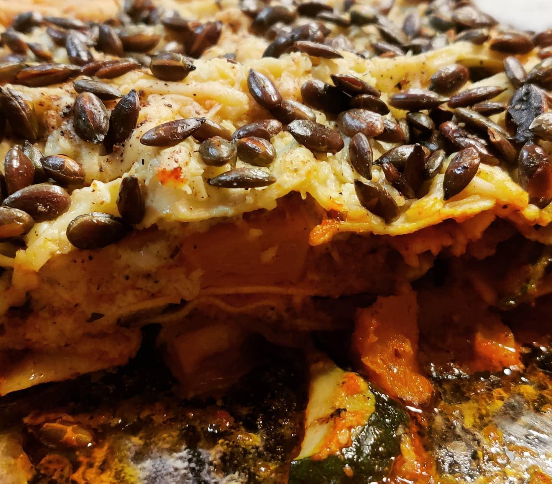 Tonight's culinary joy – a deep cut from @marcuswareing 's first book, a stunning pumpkin, courgette & piquillo pepper pesto lasagne! #pumpkinseedsftw
