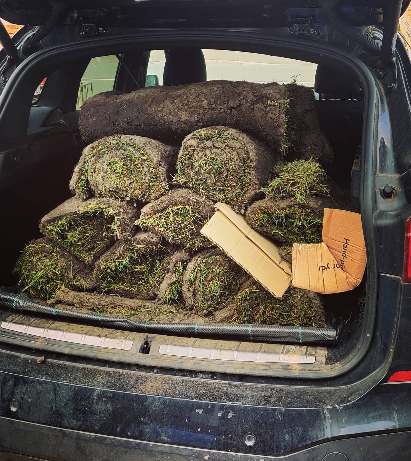 Can't begin to express what a relief it was not to get pulled over by the po-po on Sunday while rollin'round the manor in my SUV with a boot full of grass #supergreen #noweed #myhometurf #sod #etc