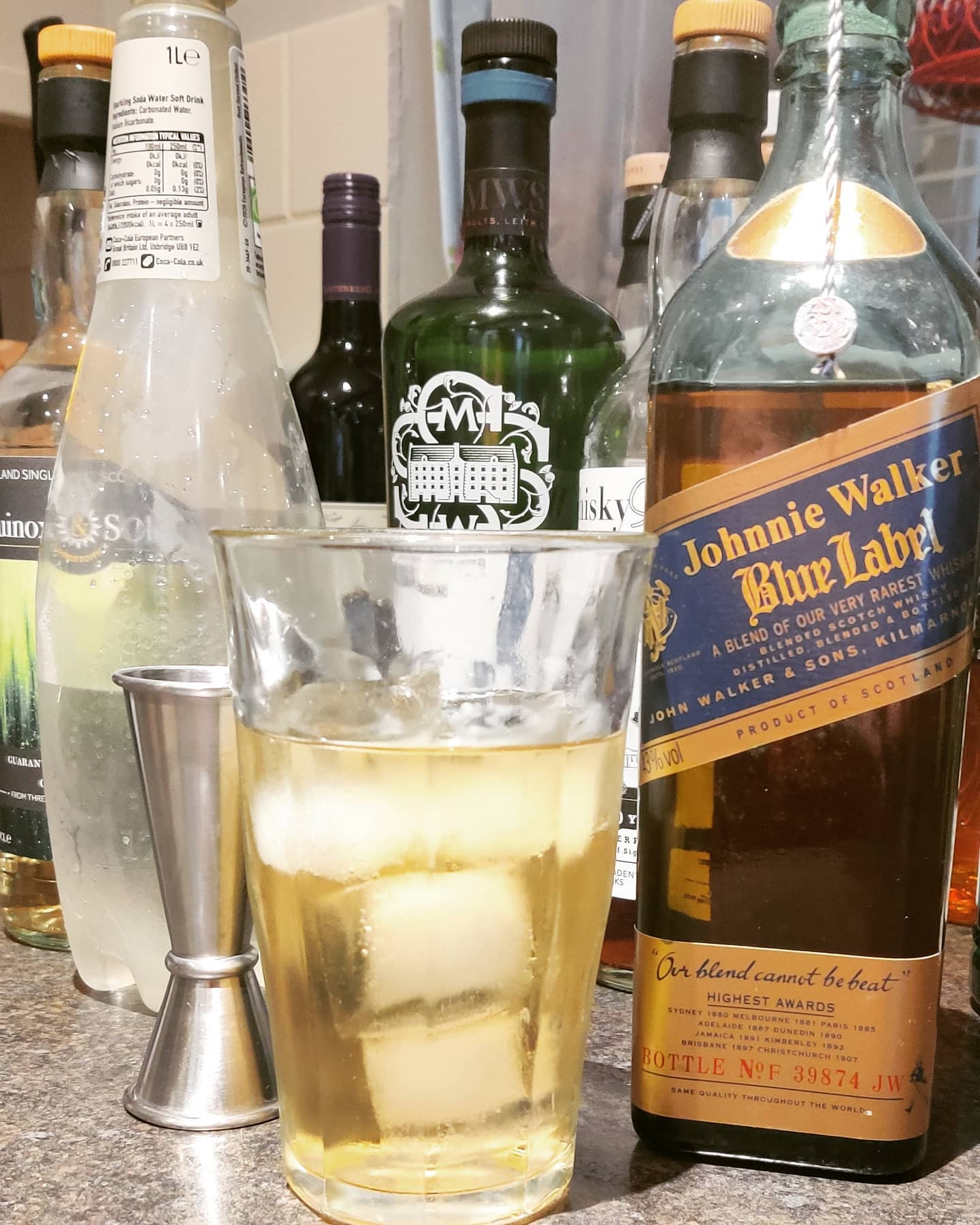 Blue Label highball in a crap holiday cottage chunky Ikea glass? DON'T MIND IF I DO! #leweekend #lovescotch #keepwalking